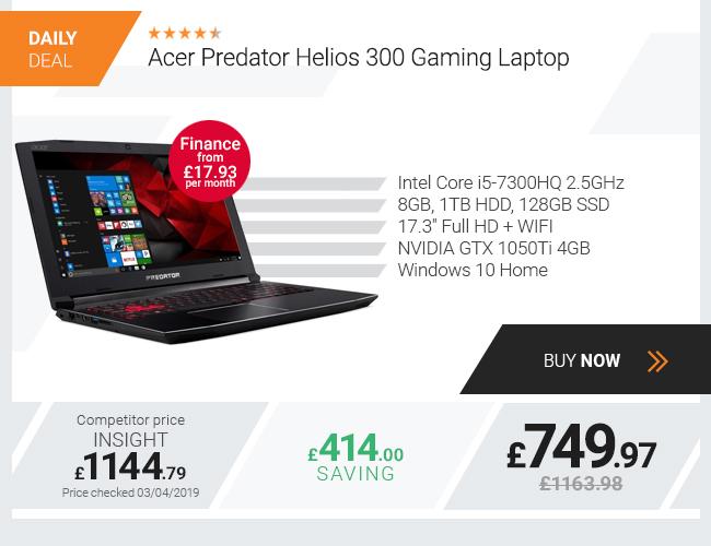 Acer Predator Helios 300 Gaming Laptop 17.3in i5 8GB 1TB 128GB SSD GTX 1050Ti