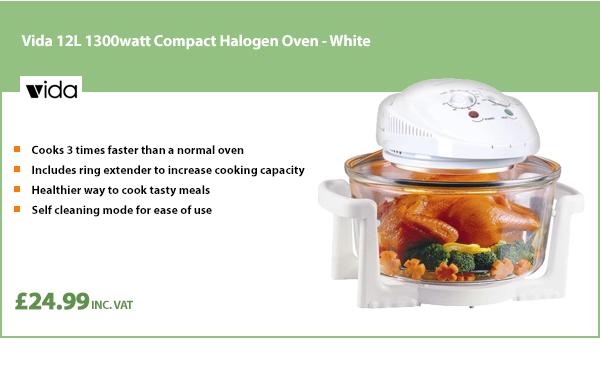 Vida 12L 1300watt Compact Halogen Oven - White