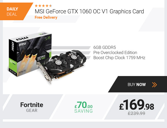 MSI GeForce GTX 1060 6GB GDDR5 OC V1 Graphics Card
