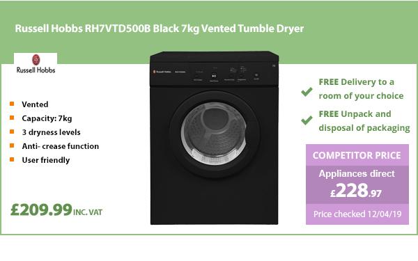 Russell Hobbs RH7VTD500B Black 7kg Vented Tumble Dryer