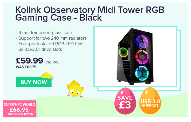 Kolink Observatory Midi Tower RGB Gaming Case - Black