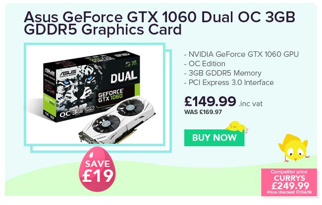 Asus GeForce GTX 1060 Dual OC 3GB GDDR5 Graphics Card