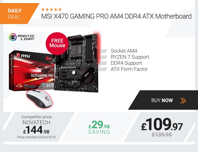 MSI X470 GAMING PRO AM4 DDR4 ATX Motherboard + FREE MOUSE