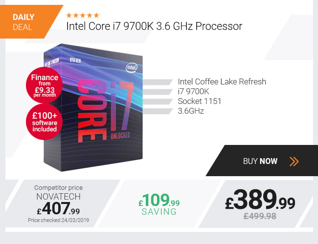 Intel Core i7 9700K 3.6 GHz Processor + FREE £100+ Games