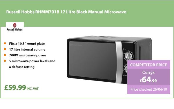 Russell Hobbs RHMM701B 17 Litre Black Manual Microwave