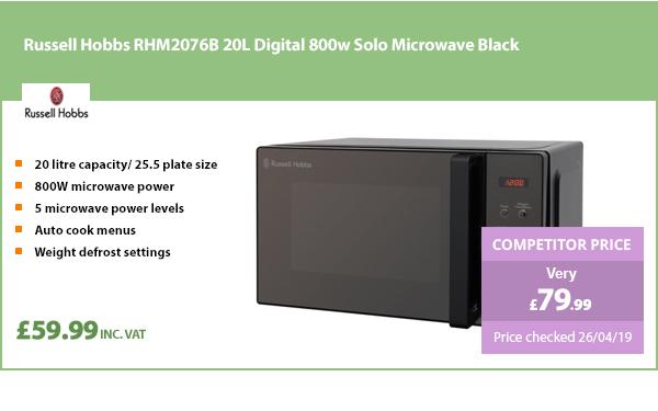 Russell Hobbs RHM2076B 20L Digital 800w Solo Microwave Black