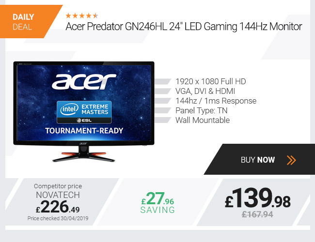Acer Predator GN246HL 24in Gaming 144Hz Monitor