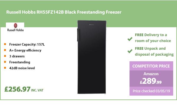 Russell Hobbs RH55FZ142B Black Freestanding Freezer
