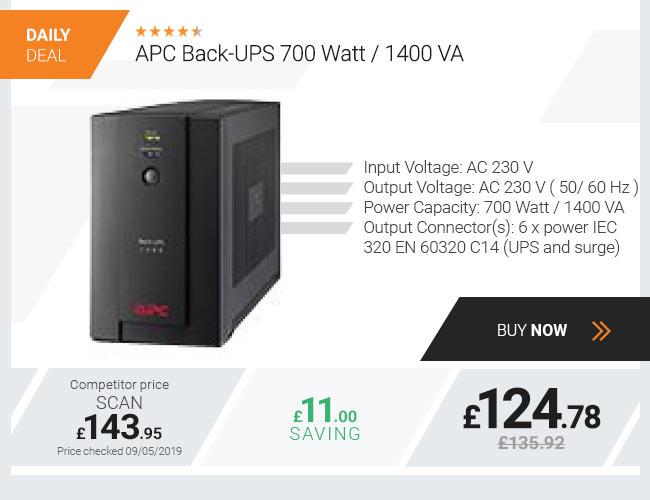 APC Back-UPS 700 Watt 1400 VA, 230V, AVR, IEC Sockets - BX1400U