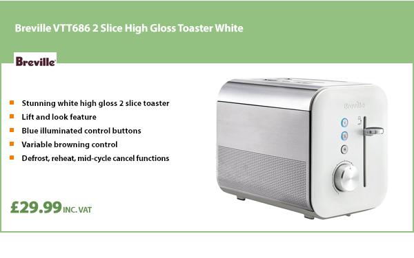 Breville VTT686 2 Slice High Gloss Toaster White