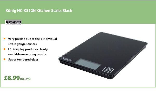 König HC-KS12N Kitchen Scale, Black