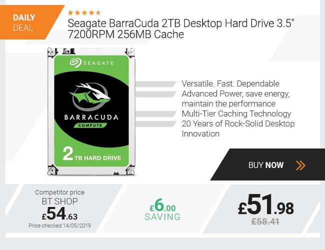 Seagate BarraCuda 2TB Desktop Hard Drive 3.5in 7200RPM 256MB Cache