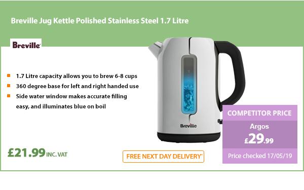 Breville Jug Kettle Polished Stainless Steel 1.7 Litre