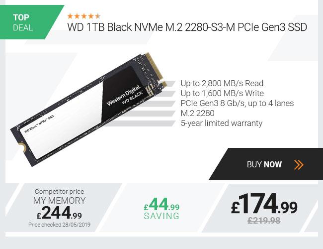 WD 1TB Black NVMe M.2 2280-S3-M PCIe Gen3 SSD
