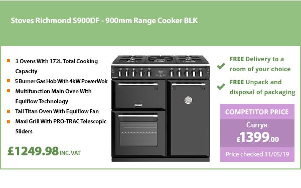 Stoves Richmond S900DF - 900mm Range Cooker BLK