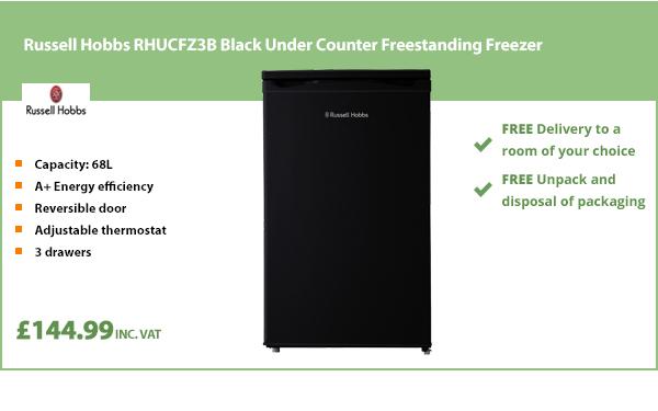 Russell Hobbs RHUCFZ3B Black Under Counter Freestanding Freezer