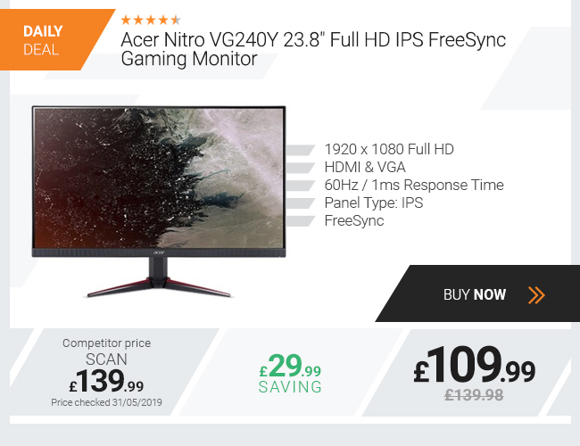 Acer Nitro VG240Y 23.8in Full HD IPS FreeSync Gaming Monitor