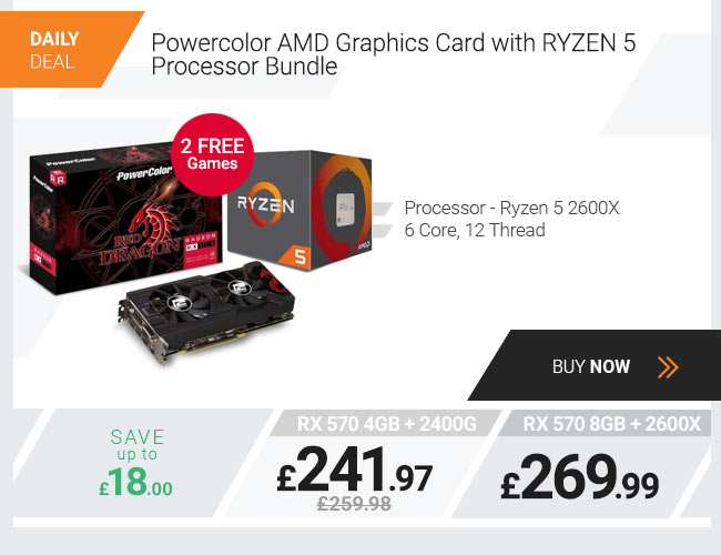 PowerColor Red Dragon Radeon Graphics Card with RYZEN 5 2400G Processor Bundle