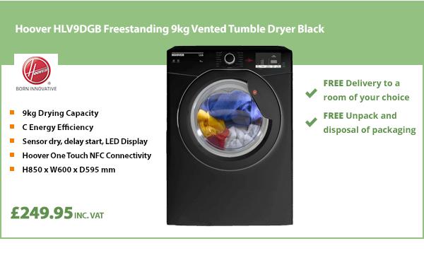 Hoover HLV9DGB Freestanding 9kg Vented Tumble Dryer Black