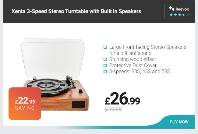 Turntable with Built in Speakers - 3-Speed, Stereo Speakers