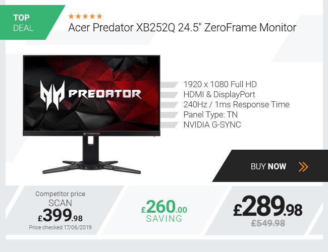 Acer Predator XB252Q 24.5in Full HD G-Sync ZeroFrame Monitor