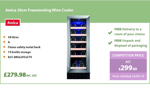 Amica 30 cm Freestanding Wine Cooler