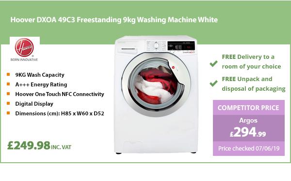 Hoover DXOA 49C3 Freestanding 9kg Washing Machine White