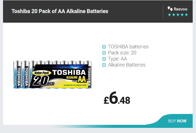 Toshiba 20 Pack of AA Alkaline Batteries