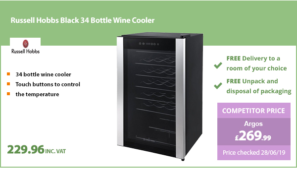 Russell Hobbs RH34WC1 Black 34 Bottle Wine Cooler