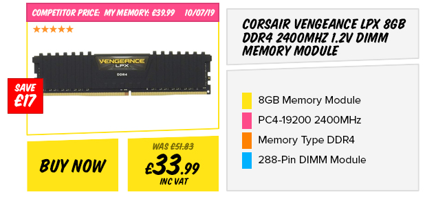 Corsair Vengeance LPX 8GB DDR4 2400MHz 1.2v DIMM Memory Module