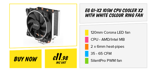 EG GI-X2 CPU Cooler X2 with White Colour Ring Fan