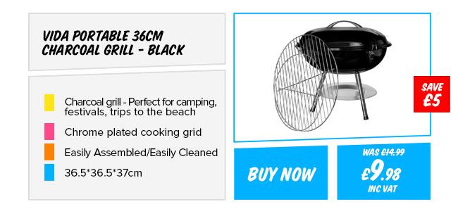 Vida Portable 36cm Charcoal Grill - Black