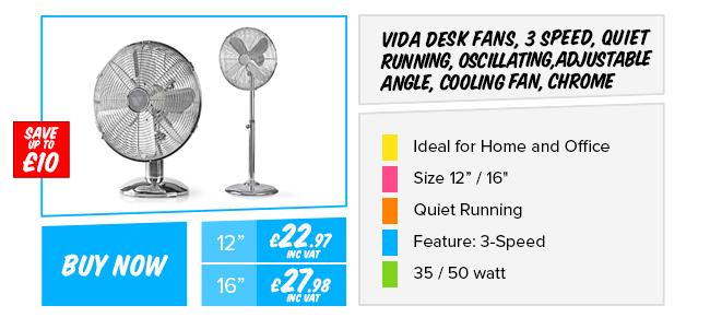 Vida 36in Tower Fan Portable, Oscillating, 3 Speed, bladeless design, chrome