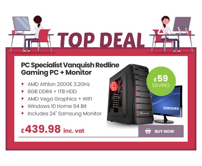PC Specialist Vanquish Redline Gaming PC + Monitor