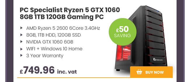 PC Specialist Ryzen 5 GTX 1060 8GB 1TB 120GB Gaming PC