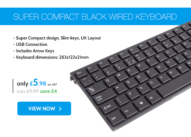 Xenta Super Compact Black Wired Keyboard - USB