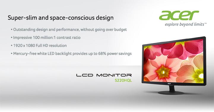 Super-slim and space-conscious design - Acer S220HQL