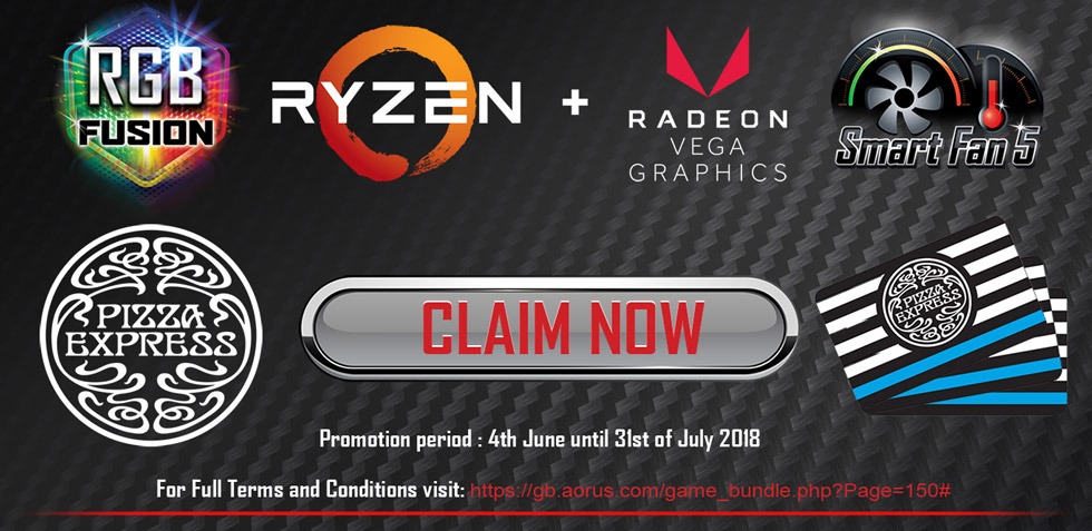 GET A £20 PIZZA EXPRESS GIFT CARD WHEN YOU BUY SELECTED AMD X370 & B350 GIGABYTE MOTHERBOARDS