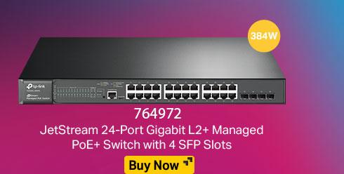 JetStream 24-Port Gigabit L2+ Managed PoE+ Switch with 4 SFP Slots